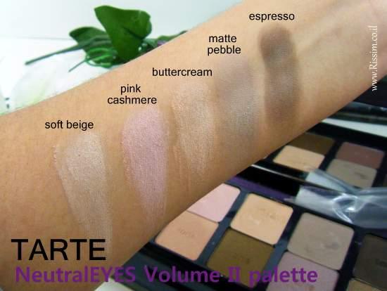 Tarte NeutralEYES Volume II Palette swatches