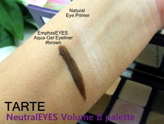 Tarte NeutralEYES Volume II Palette swatches eye primer and eye pencil