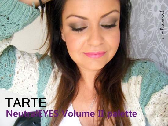 Tarte NeutralEYES Volume II Palette swatches on eyes
