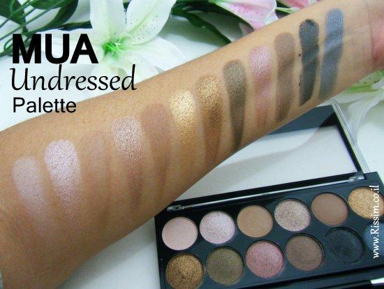 MUA undressed palette swatches