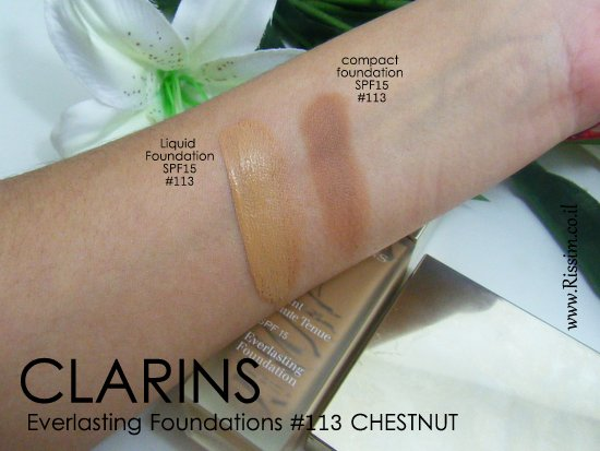 CLARINS Everlasting compact foundation SPF15 #113 swatches