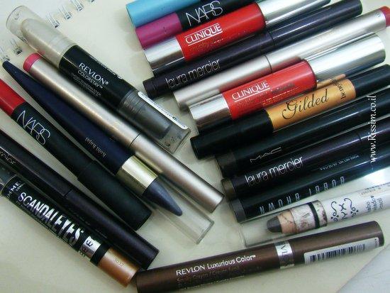 צלליות עפרון ושפתוני עפרון. בפוסט הזה - כל צלליות הסטיק והעפרון שלי