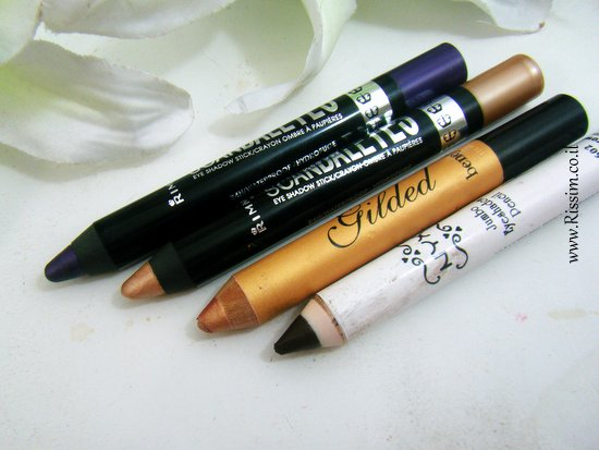 Rimmel Scandaleyes eye shadow stick BENEFIT Gilded highlighting pencil NYX Jumbo eyeshadow pencil1