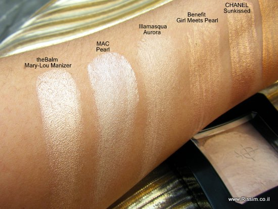 highlighters and illuminators swatches